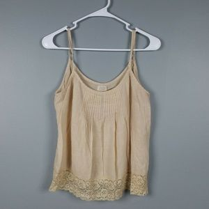 Volcome Light Beige Thin Gauze Pintuck Tank Top